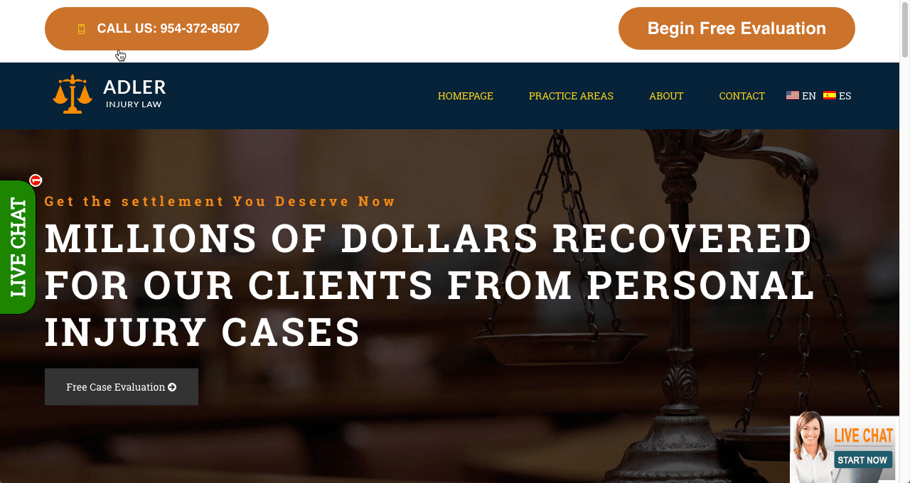 Featured image for personal injury law landing page portfolio item