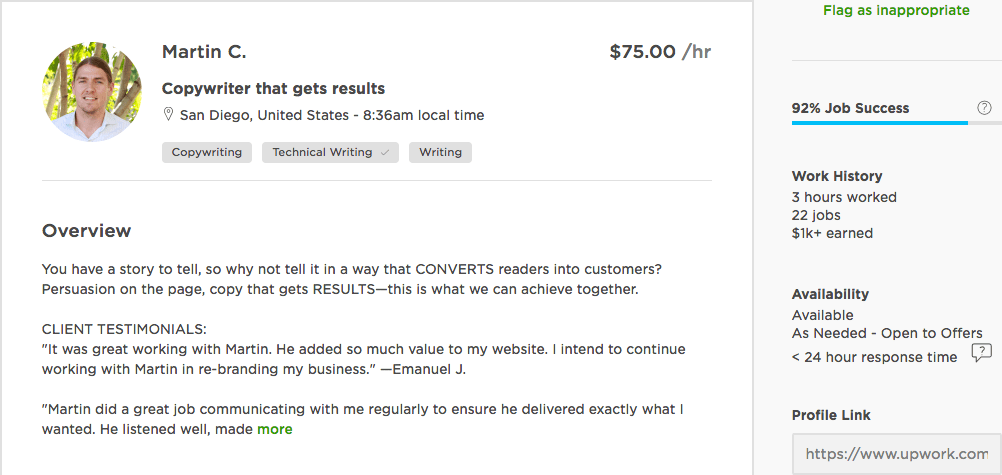 An example of an Upwork profile.